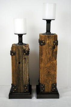 Modern Candle Holders, Pillar Candle Holders, Pillar Candles, Diy Candles, Rustic Wood Shelving, Wood Shelves, Chandeliers, Iron Pipe, Barn Wood
