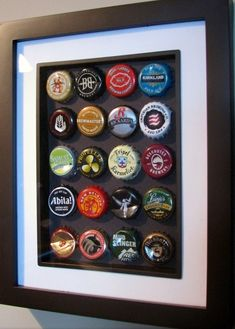 A smaller, recessed mat style frame makes a great display choice for a collection of your best beer bottle caps