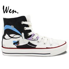 Wen Fire Cute Panda Animal Hand Painted White Sneakers Women Mens Canvas Shoes