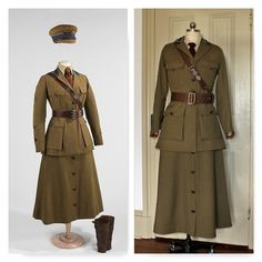 Reproduction of a Women's WWI Motor Corps of America Uniform Vintage Military Uniforms, Military Dresses, 1940s Fashion, Vintage Fashion, Trench Coat Outfit, Military Women, Period Outfit, Cosplay Outfits, Historical Clothing