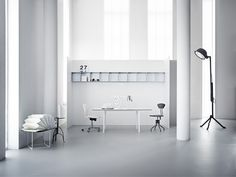 Ah, the pristine white room. Light and airy. Modules in the colour: Frost.  #montana #furniture #danish #design #height #adjustable #table #white #frost