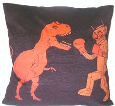 Chris would like this manly pillow :-) Funky Cushions, Pin Cushions, Vintage Cartoon, Retro Vintage, Kids Rooms, Kids Bedroom, Robot Dinosaur, Retro Robot, Little Boy Blue