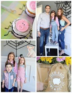 Liesl's Charlotte's Web Themed Party - barnyard, Wilbur the pig, spider web, county fair, barnyard cake pops, party decirm farm with hay bales