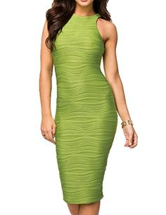 290e6250be CoCo Fashion Womens Sexy Stretch Ruched Sleeveless Bandage Cocktail Midi  Dress Medium Green *** For more information, visit image link.