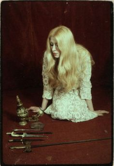 """MAXINE SANDERS - 1971 """"The Power of the Witch"""" - Still from rare British exploito documentary on the Occult & the unsolved murder of Charles Walton on Meon Hill."""