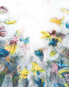 An abstract and colorful painting incorporating bright spring colors. This piece has a mate and a corresponding horizontal piece.