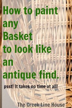 How to paint any basket to look like an antique find, this is a great DIY idea for thrift store finds!