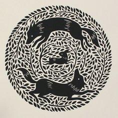 """""""Circling Wolves"""" detail 1 by Nora Aoyagi"""