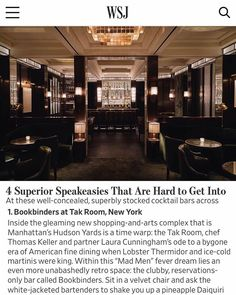 """David Collins Studio on Instagram: """"#Repost @takroomnyc ・・・ Guess the secret is out! Thank's @wsj for featuring Bookbinder's in your latest article, """"4 Superior Speakeasies…"""""""