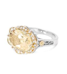 Tacori 18K925 - 18K925 Collection 18K & Sterling Oval Citrine & Dia Ring