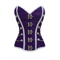 Purple Corset with Buckle Fastening and Button Detail