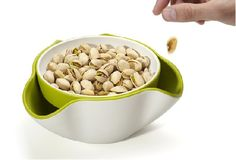 Double Dish™ provides the perfect solution to the problem of serving snacks such as olives and pistachio nuts, with their inedible stones and shells. $21.99