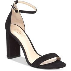 Vince Camuto Mairana High-Heel Strappy Sandals ($66) ❤ liked on Polyvore featuring shoes, sandals, black nubuck, black sandals, strappy high heel sandals, strappy sandals, ankle strap sandals and black shoes
