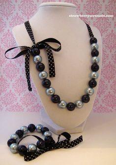 Blue & Black Pearl Lolita Bow Ribbon Necklace AND Bracelet Set. $24.00, via Etsy.