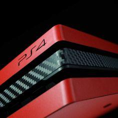 PS4 Pro - Matt Red and Black Carbon Fibre Skin