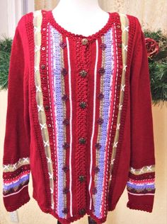 6b0bc9e2bb2 CJ Banks X(14 16) Plus Cardigan Sweater Red Multi Striped Floral LS Buttons