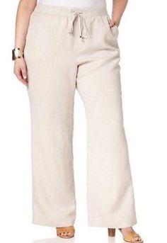 alfani woman pull-on wide leg linen pants - ivory - plus size 24w