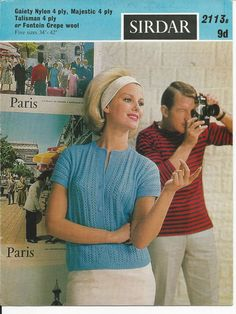 ORIGINAL VINTAGE 1960s KNITTING PATTERN womens TOP | eBay