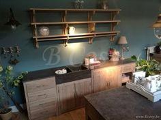 Lee&Lewis Kitchen Keukenblok Oud Dennehout Olive Met Natuurstenen Blad 250 Poolhousekeuken-Poolhouse keuken-Buitenkeuken