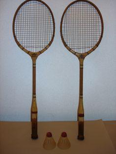 Vintage Jai Alai Badminton Rackets Shuttlecocks and Wiffle Ball FUN 4 U Badminton Racket, Tennis Racket, Wiffle Ball, Rackets, Balls, 1950s, Ebay, Vintage, Vintage Comics