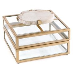 Napa Home and Garden Fossilized Clam Glass Display Decorative Box, Gold