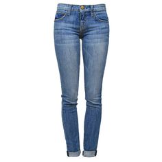 CURRENT/ELLIOTT The Rolled Skinny Tulsa (€88) ❤ liked on Polyvore featuring jeans, pants, bottoms, pantalones, destructed skinny jeans, skinny fit denim jeans, ripped skinny jeans, blue skinny jeans and skinny jeans