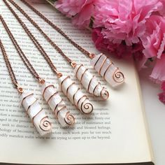 These beautiful selenite crystals are wrapped snug in copper wire. Intended to be used as a wearable wand. Wire Wrapped Jewelry, Wire Jewelry, Jewlery, Handmade Jewelry, Raw Crystal Jewelry, Gemstone Jewelry, Selenite Crystals, Witchcraft Supplies, Wire Wrapping Crystals