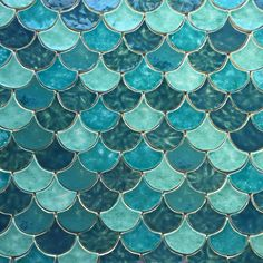 This beautiful tile is the perfect mermaid inspiration for this months birthstone; Graphisches Design, Tile Design, Fish Scale Tile, Turquoise Tile, Fish Scales, Kitchen Tiles, Tile Patterns, Mosaic Tiles, Interior Design Living Room