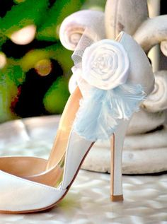 """Pretty white wedding shoe clips / """"something blue"""". Custom made colors! From Sofisticata on etsy :)"""