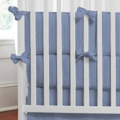Royal Blue Gingham Baby Crib Bedding Collection