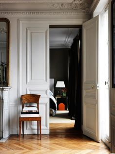 greige design interiors shop and inspiration for the home Interior Architecture, Interior And Exterior, Interior Doors, Parisian Apartment, Parisian Bedroom, Classic Interior, Interior Modern, Interior Design Inspiration, Interior Ideas