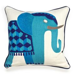 If I was rich, I would buy this pillow.  Modern Throw Pillows | Jaipur Elephant Beaded Linen Throw Pillow | Jonathan Adler