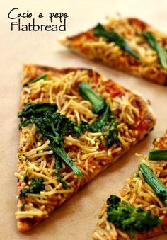 My favorite pasta dish on top of homemade flatbread pizza. Pizza gourmet enough to serve at a party!