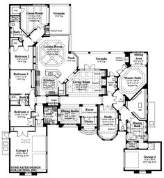 ****Like the plan but not the style---Need to get rid of the wasted space on the right side----even off the front of house and revamp the master area La Serena - One-story House Plans - Home Plan Styles - Sater Design Collection Plans Dream House Plans, House Floor Plans, My Dream Home, Dream Homes, Custom Home Plans, Custom Homes, One Story Homes, Bedroom Floor Plans, Mediterranean Homes