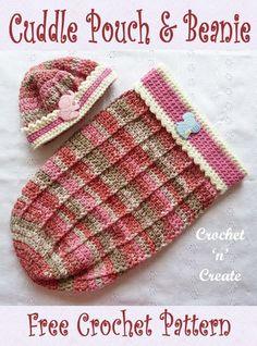 Free baby crochet pattern for baby cuddle pouch-beanie on crochetncreate. #crochetlove #freebabycrochetpattern #ilovecrochet #crochetbabypouch #crochetforbaby #crochetbabybeanie Easy Crochet Hat, Crochet Baby Beanie, Baby Afghan Crochet, Crochet Baby Clothes, Basic Crochet Stitches, Crochet Motif, Free Crochet, Crochet Patterns, Crochet Headbands