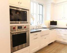 Kitchen With Corner LCD TV Under White Cabinets