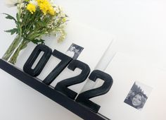 Papier Mache Numbers are Inexpensive and Store-bought. Spray Painted with Chalk Paint.   Looks like Industrial Metal.