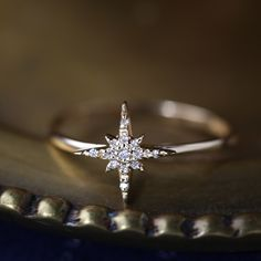 a50dd5e95 14k gold starburst diamond ring / diamond cluster ring / delicate diamond  ring / unique engagement