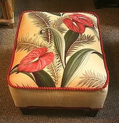 Great Vintage Barkcloth Footstool..love love love
