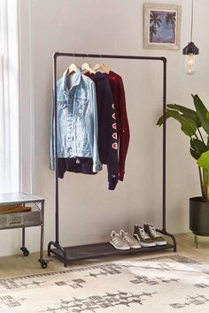 Check out Pipe Clothing Rack from Urban Outfitters Decor, Clothing Rack Bedroom, Clothing Rack, Minimalist Decor, Home Decor, Small Closet, Rack, Open Wardrobe, Wardrobe Rack