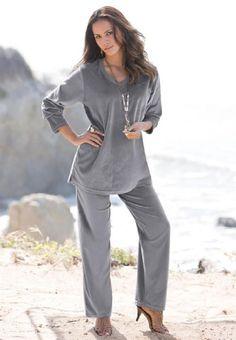 58c6c4da4e084 Roamans Plus Size Petite V-Neck Velour Jogging Suit  24.99 Jogging Outfit