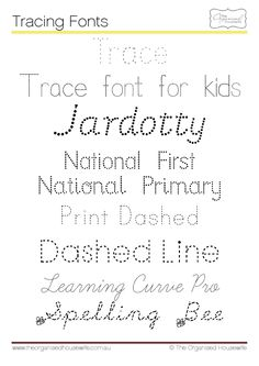 Tracing fonts to help with handwriting