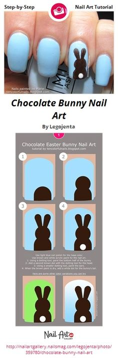 Check out more information + BIGGER sized tutorial about this nail art on my blog here: http://tencolorfulnails.blogspot.com/2014/04/chocolate-bunny-nail-art.html