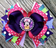 MINNIE MOUSE Hair Bow Boutique Style Spring / by PolkaDotzBowtique, $8.99