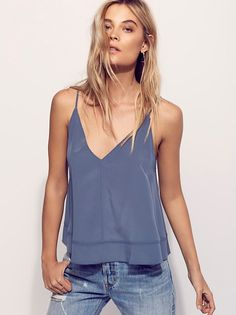Up All Night Silk Cami | Flowy silk cami, cropped to the natural waist, in an oversized shape. V-neckline.