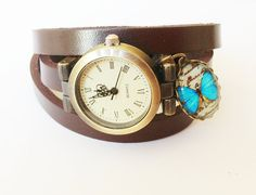 Leather Bracelet Wrap Watch,  Bracelet  Watch, Wrist Watch darkbrown