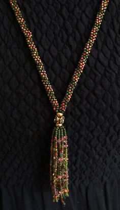 Swarovski Crystal Kumihimo Fringe Necklace by SeaSaltnPearls