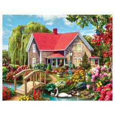 DIY Diamond Painting Cross Stitch Diamond Mosaic Needlework Crafts Red House By River Full Diamond Embroidery Home Decor 189029 Scenery Paintings, Cross Paintings, Landscape Paintings, House Paintings, Country Paintings, Landscape Art, Landscapes, Cottage Art, Garden Cottage