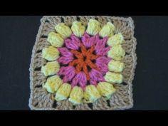 Popcorn Flower Crochet Granny Square