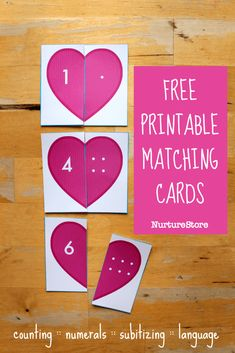 Printable heart matching and counting cards - Valentine's math activity - matching cards printable